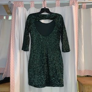 Hunter Green Sequin Holiday Dress